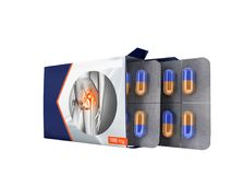 Tablets in a package open two plates with capsules from pain joints blue 3d render on white background no shadow. Capsule is a dosage unit consisting of a hard Stock Photo