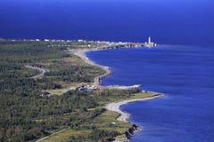Capsule el faro del DES Rosiers, visión aérea, Gaspesie, Quebec Foto de archivo libre de regalías
