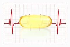 Capsule et électrocardiogramme jaunes d'huile de poisson Images stock