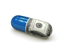 Capsule f1s de médecine du dollar Photographie stock