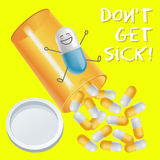Capsule with face expression and pill bottle spilling capsules Royalty Free Stock Photo