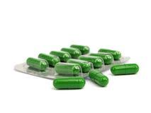 Capsule farmaceutiche verdi Fotografia Stock