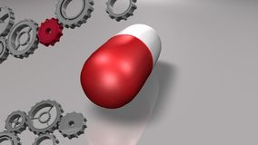 Capsule and gears. Digitally generated animation of red capsule rotating with moving gears vector illustration