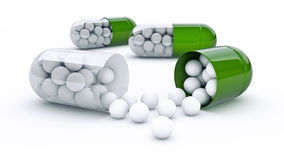 Capsule with golf balls Stock Photo