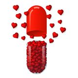 Capsule with hearts inside, 3D vector isolated on white background stock illustration