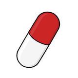 Pill illustration. Capsule illustration; Isolated medicine capsule drawing Stock Image