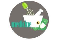 Capsule, korrel, groen met wit mortier, vector, illustratie, beeld Stock Foto's