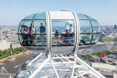 Capsule of the London Eye with aerial view over London Royalty Free Stock Photo