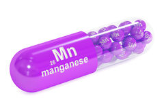 Capsule with manganese Mn element Dietary supplement, 3D renderi Royalty Free Stock Photos