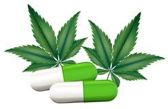 A capsule of marijuana. Illustration of a capsule of marijuana on a white background Royalty Free Stock Images