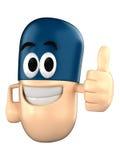 Capsule Mascot. Capsule character giving a thumbsup Royalty Free Stock Photos