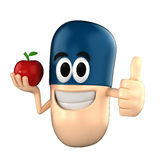 Capsule Mascot. Capsule character holding an apple while giving thumbsup Royalty Free Stock Photography