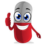 Capsule Mascot Doing Ok hand Sign. Vector Illustration of Capsule Mascot Doing Ok hand Sign Stock Photos