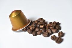 Capsule per la macchina del caffè su bianco Fotografia Stock Libera da Diritti