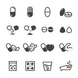 Capsule and pill icons Stock Photos