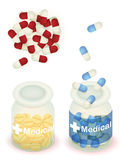 Capsule pill and tablet in clear bottle Stock Photos