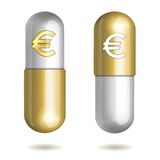 Capsule Pills with Euro Signs Royalty Free Stock Photos