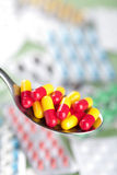 Capsule pills in spoon Royalty Free Stock Photography