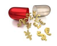 Capsule pour les remèdes de devises étrangères Photos libres de droits