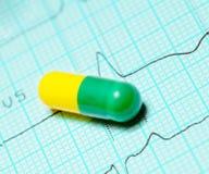 Capsule sur l'électrocardiogramme médical Photographie stock libre de droits