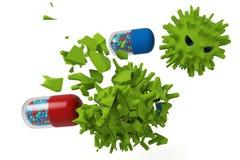 Capsule VERSUS virus Stock Foto