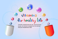Capsule With Vitamins Nutrient Minerals Colorful Banner Healthy Life Nutrition Chemistry Element Concept Royalty Free Stock Photography