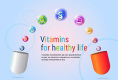Capsule With Vitamins Nutrient Minerals Colorful Banner Healthy Life Nutrition Chemistry Element Concept Royalty Free Stock Images