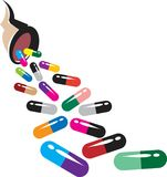 Capsules. Colourful capsules with bottle illustrated image Stock Illustration