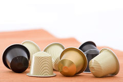 Capsules. Coffee capsules with different colors Stock Photography