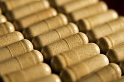 Capsules. Rows of capsules in soft light Stock Images