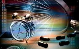 Capsules with alarm clock. Digital illustration of a capsule with alarm clock Stock Photography