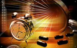 Capsules with alarm clock Royalty Free Stock Image