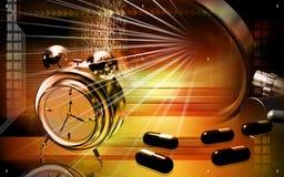 Capsules with alarm clock. Digital illustration of a capsule with alarm clock Royalty Free Stock Image