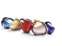 Capsules colorées de café Photos libres de droits