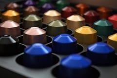 Capsules colorées de Nespresso Photographie stock libre de droits