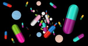 Capsules, color pills and tablets falling royalty free illustration