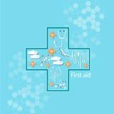 Capsules de soins de santé de pharmaceutiques de médecine dans la forme croisée Photographie stock