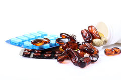 Capsules en tabletten Royalty-vrije Stock Foto's