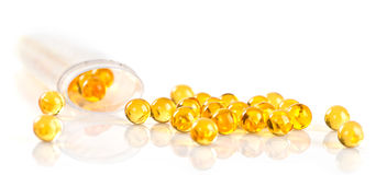 Capsules of fish oil Royalty Free Stock Image