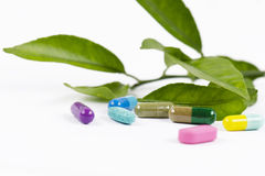 Capsules with leaves. Colored capsules with leaves on white background stock image