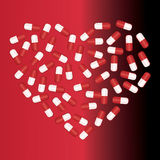 The capsules lying in the form of heart. Vector illustration Royalty Free Stock Photos
