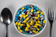 Capsules of meal Stock Photography