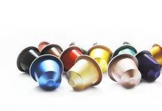 Capsules multicolores de café Photographie stock libre de droits