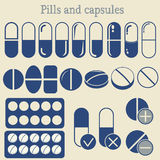 Capsules and pill icon set Royalty Free Stock Photos