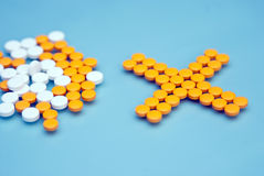 Capsules and pills. Capsules and  pills  on a blue background Stock Images