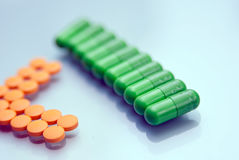 Capsules and pills Stock Photo