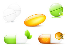 Capsules and Pills. Different pills and capsules, illustration Stock Photos