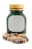 Capsules Pills Bio and Bottle Royalty Free Stock Images