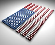 Capsules and pills in the shape of the American flag. On a white background Stock Photos