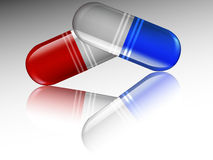 Capsules with reflection. Medical capsule with reflection, vector art illustration Stock Images